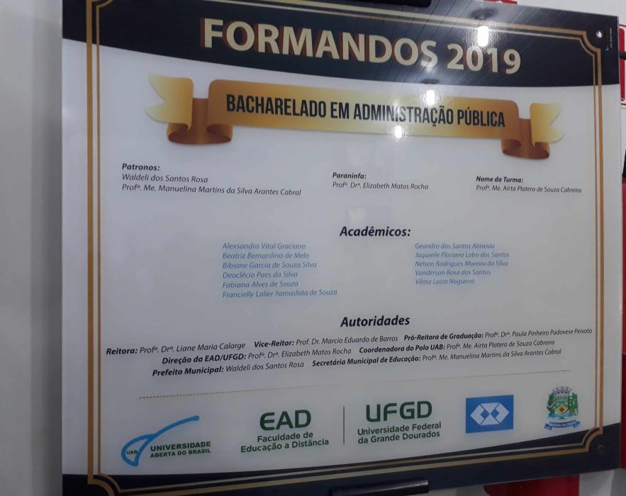 Placa Formandos 2018.2
