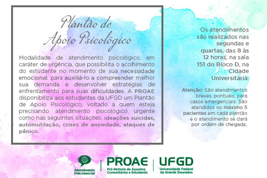 Plantão Psicológico para estudantes começa a funcionar na UFGD dia 20 de maio