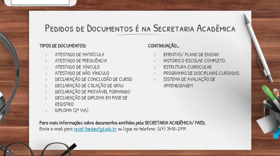 Documentos emitidos pela Secretaria Acadêmica