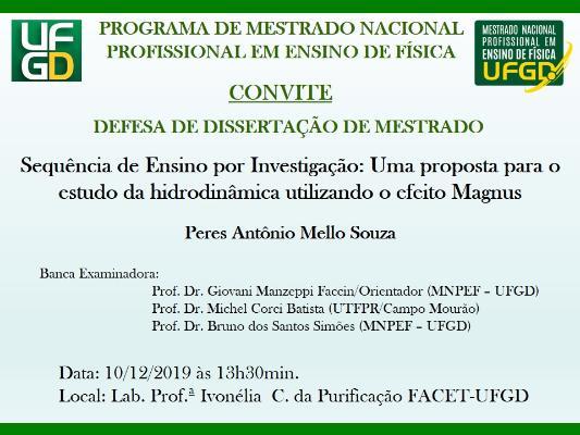 Convite para Defesa Pública de Dissertação - Peres Mello Souza
