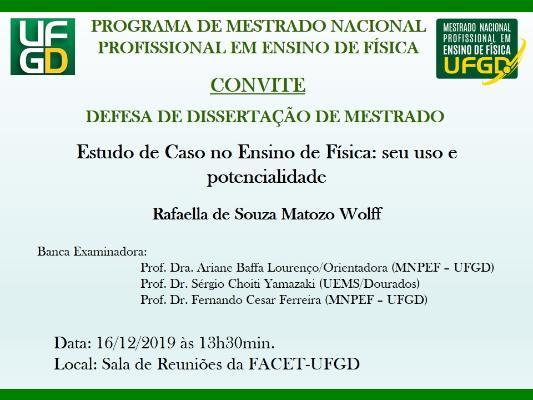 Convite para Defesa Pública de Dissertação - Rafaella Wolff
