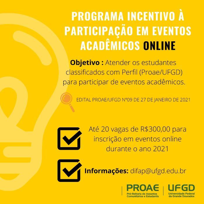Programa incentivo à participação em eventos acadêmicos - online